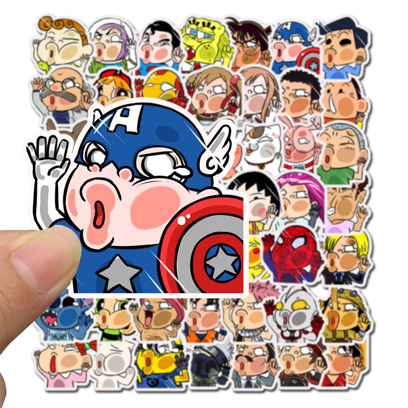 50pcs Glass Man Stickers Cartoon Anime Movie Characters For Laptop Skateboard Bicycle Guitar PVC Sticker Gifts For Children