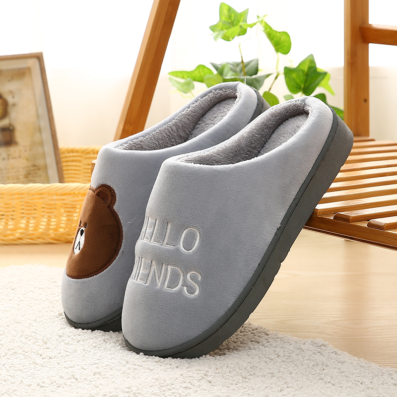 LettBao 2018 New Winter Slippers Men Lovers Home Slippers Indoor Warm Cotton Shoes Teddy Bear Prints Slipper Mens Winter Shoes slipper