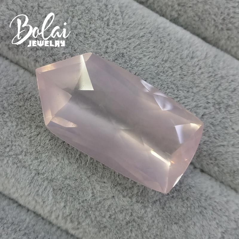 Bolaijewelry,100% Natural big rose quartz rhombus 19.25*37.75*12.98mm 56.35ct loose gemstone for jewelry bolaijewelry 100