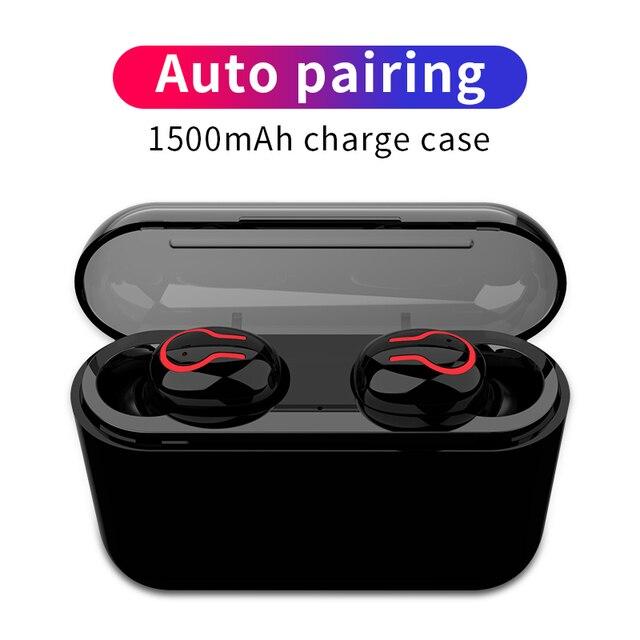 HBQ auriculares TWS, inalámbricos por Bluetooth 5,0, intrauditivos portátiles con sonido estéreo 3D y micrófono, auriculares manos libres deportivos con emparejamiento automático