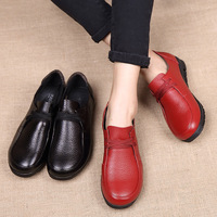 Flats Shoes Women Flats Womens Shoes Round Toe Women Oxfords Solid Genuine Leather Casual Female Shoes Leather Shoes Lace Up Hot