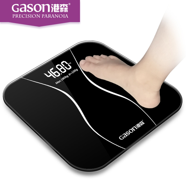 Best Selling GASON 180kg Square Night Vision Bathroom Household Weight Scale Black White Pink Smart LCD Digital FLOOR SCALES A2