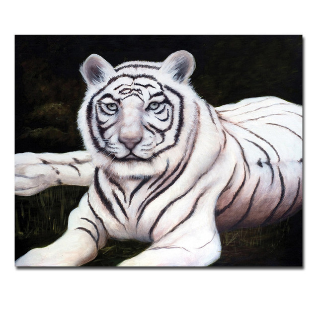 Canvas Printed Paintings Animal Series White Tiger Oil Painting ...