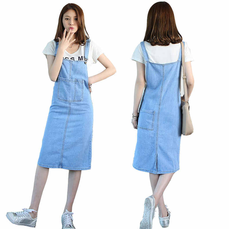 93cac99fd6195 Fashion Korean Preppy Style Womens Jeans Suspenders Skirts Jupes Woman  Girls Blue Denim Midi Long Bib