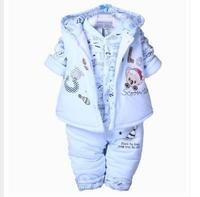 Newborn baby Fall Winter clothes Set Kids Warm Cotton Padded Clothing Boys Girls infant Hooded Vest Coat Tops Pant 3pcs suit