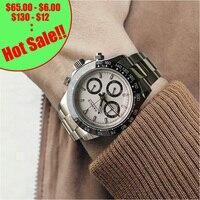Parnis кварцевые часы с хронографом для мужчин лучший бренд класса люкс Пилот бизнес водонепроницаемый сапфировый кристалл наручные часы Relogio