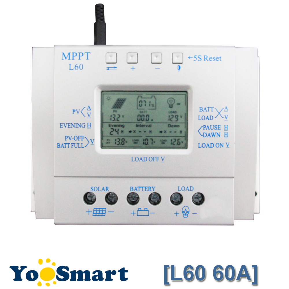12V 24V Auto 60A LCD Solar Panel Charge Controller Intelligent Efficient Energy Saving Solar Battery Charge