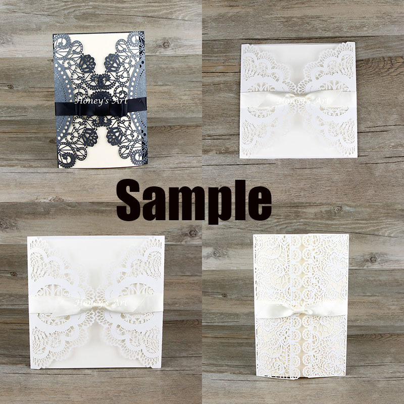 1pc Sample Laser Cut Wedding Invitations With Envelope Black outer ...