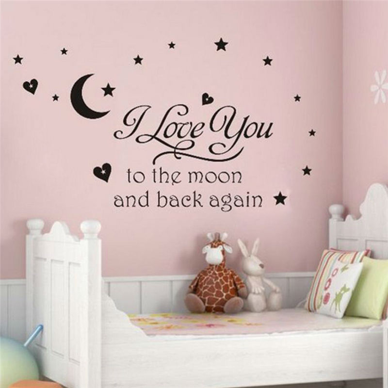 I love You to the Moon and Back Wall Stickers Romantic Heart LOVE Quote Decals