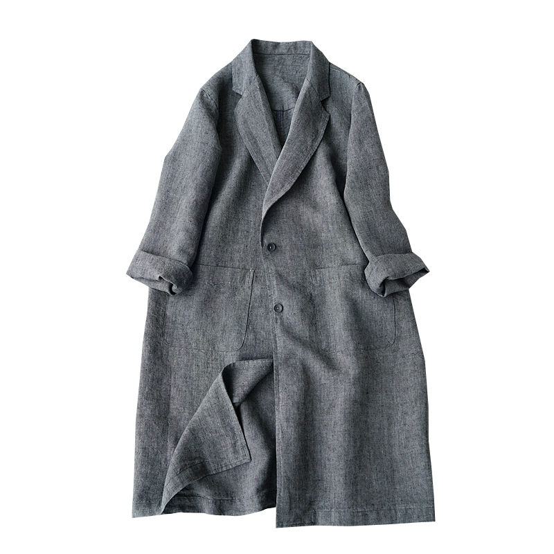 Spring Autumn Women All-match Casual Loose Plus Size Japanese Style Brief Comfortable Linen Trench Coats