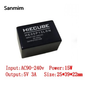SANMIN 1PCS AC110V/220V-DC5V 3A 15W Isolated switch power supply module 220 to 5v black power transformer(China)