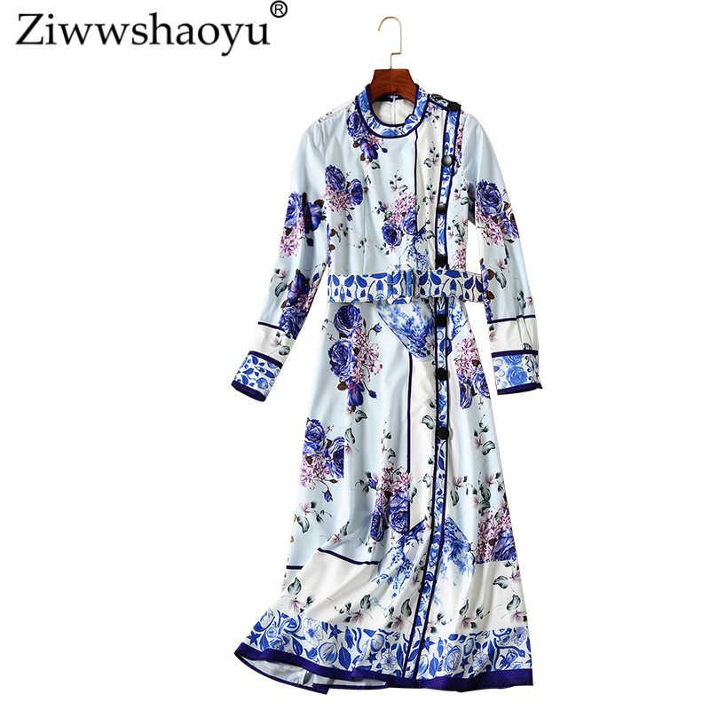 Ziwwshaoyu 유럽과 미국 2018 가을 새 드레스 빈티지 a 라인 인쇄 턴 다운 칼라 슬림 드레스