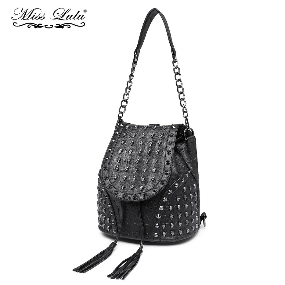 Detail Feedback Questions about Miss Lulu Women Designer Backpacks Girls  Drawstring School Bags Skull Embossed Stud PU Leather Shoulder Bag Tassel  Daypack ... 60d2e52f6cc38