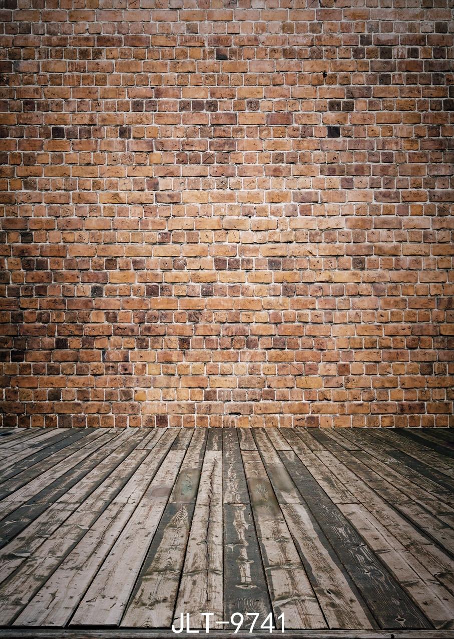 Fondo de madera de la pared y del piso de ladrillo clásico 5x7ft - Cámara y foto