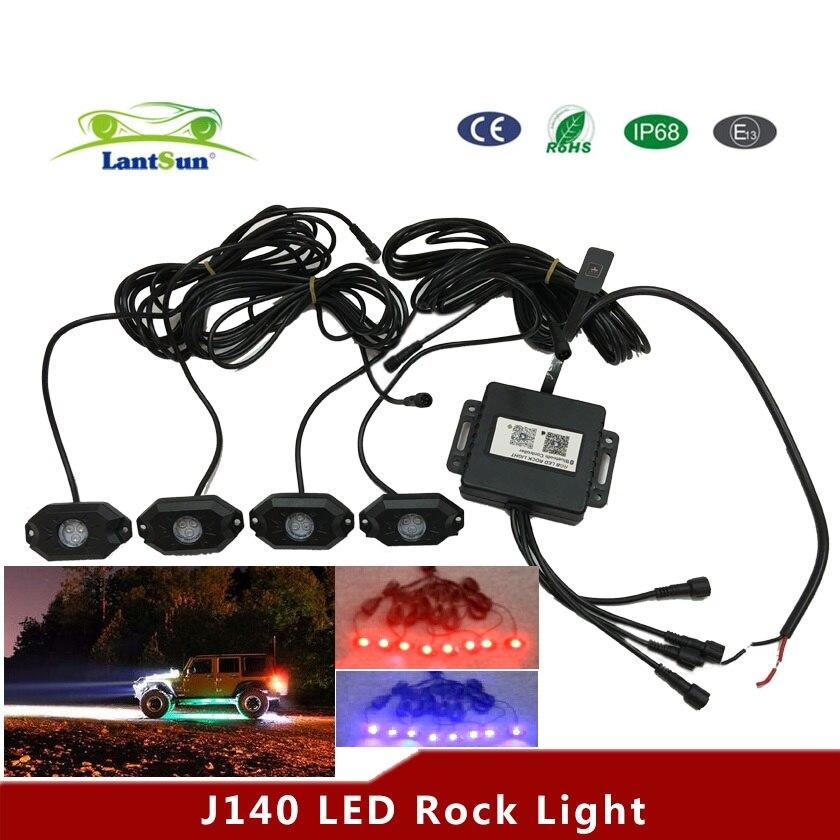 1 sada J140 bluetooth ovladač DC12v 24v RGB 4 lusky led rock rock světla zdobí světla se hodí 4x4 4WD wrangler A4