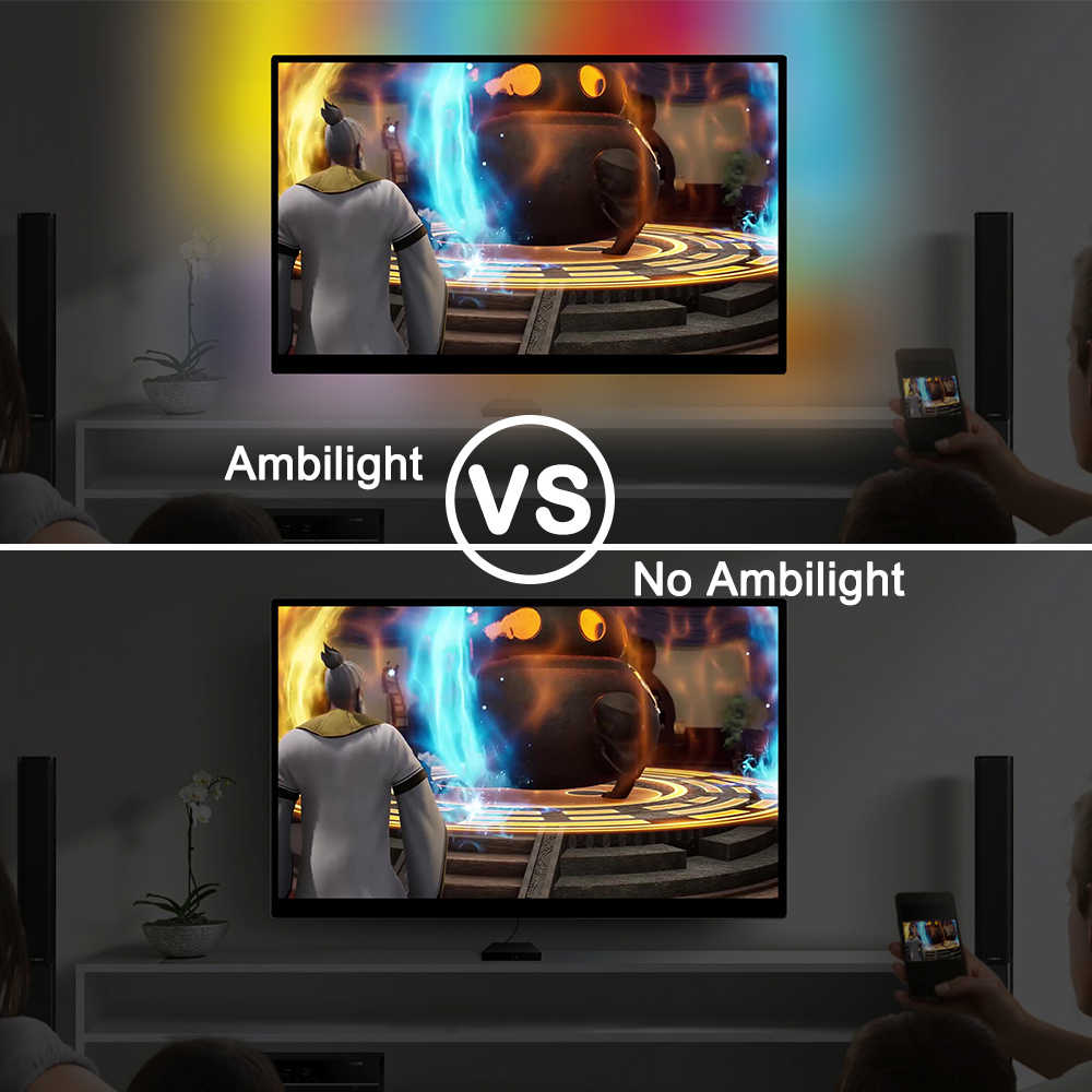 WS2812B Ambilight المضيئة شريط ليد مزود بيو إس بي ضوء HDTV إضاءة خلفية للتلفاز Pc ل رصد سطح المكتب أضواء RGB الشريط النيون Ws2812 بكسل رلدبد مصباح الطيرة