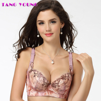TANG YOUNG Brand Women Sexy 3 4 Cup Luxury Push Up Embroidery Bralette Cute Nylon Gather