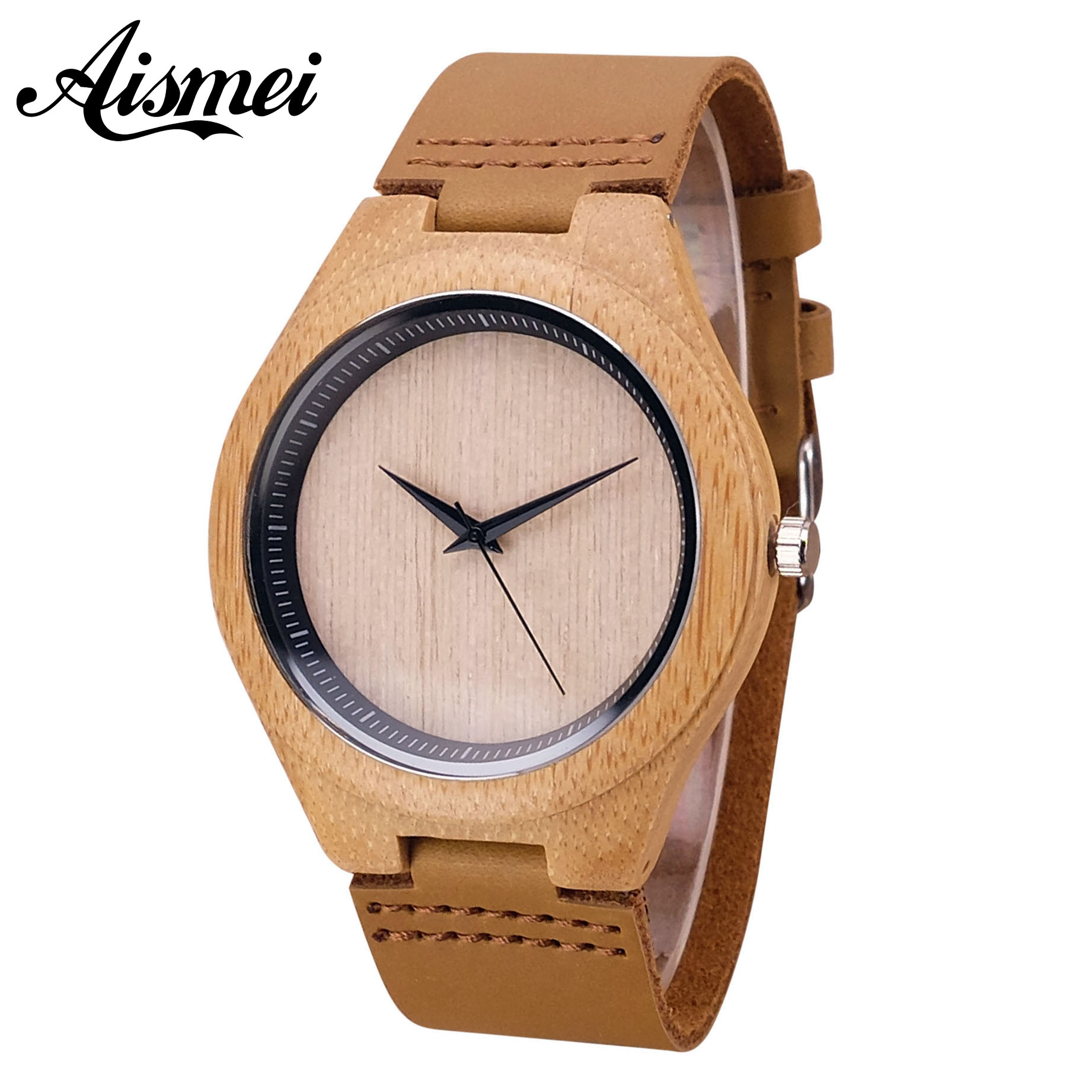 2018 New Personalized Mens Wood Watch With Genuine Leather Retro Relogio Clock men Wooden Quartz Wristwatches Gift Dropshipping