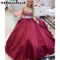 Mbcully Sweetheart Burgundy Prom Dresses 2019 Glitter Beading Crystal Long Formal Party Dress Vestidos De Gala Long Floor Length