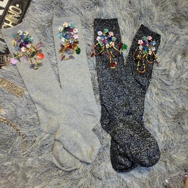 2016 Venda Mulheres Meias Personalizado Manual de Diamante Mulher Meias Moda Beads Lantejoulas Flores Franjas Tubo Reator Brilhante Curto Feminino
