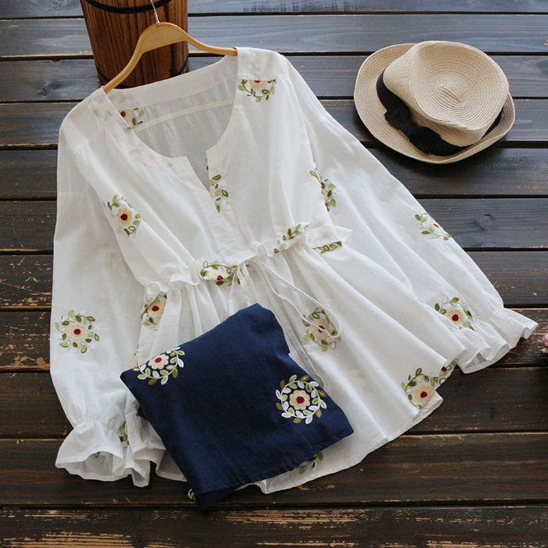 YSMILE Y Women Spring Summer V-Neck Shirt Waist Tie Embroidery Floral Long Sleeve Casual Blouse Female Daily Top