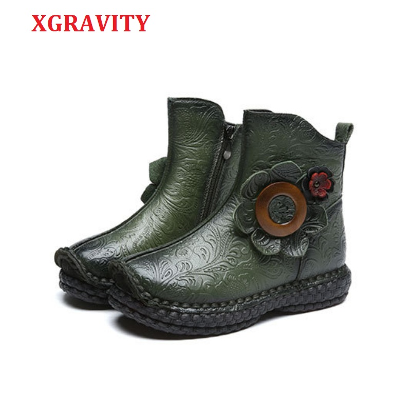 XGRAVITY New Fashion Ankle Boots Elegant Genuine Leather FLower Design Short Boots Fashion Casual Round Toe Shoes Girl Shoe C294 casual fashion women shoes elegant genuine leather flats ol flower design printing leather shoes famous brand girl shoes f002