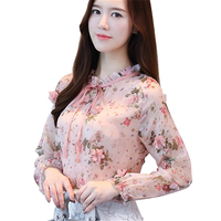 2017 Spring Autumn The New Korean Casual Chiffon Blouse Pink Blue Floral Print Women Shirt Long