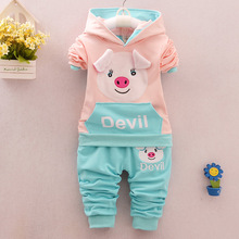0-5 Age Spring Autumn 2016 New Childrens Suit Fashion Coat+Pants Cartoon Cute Pig Casual Boys Sport Kids Clothing 3colors