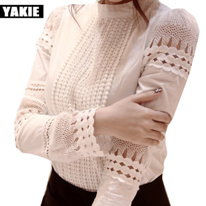 OL office elegant women blouses shirt cotton hollow out lace stand collar white work wear 2017 spring summer tops shirts blusas