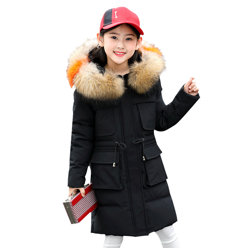 New children's down jacket girls' mid size medium and large Korean version big hair collar hood thickened and warm down jacket rounded collar shimmer jacket and skirt set