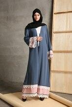 Big size 2018 Adult emboridery lace cotton liene Robes Musulmane Turkish Abaya Muslim Cardigan Robes Arab Worship Service Wj153