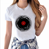 Cool Retro Music DJ Printed T-shirt Women 2017 Hot Sale Street Wear White T-shirt Hillbilly New Arrival Girl Simple Style Tops