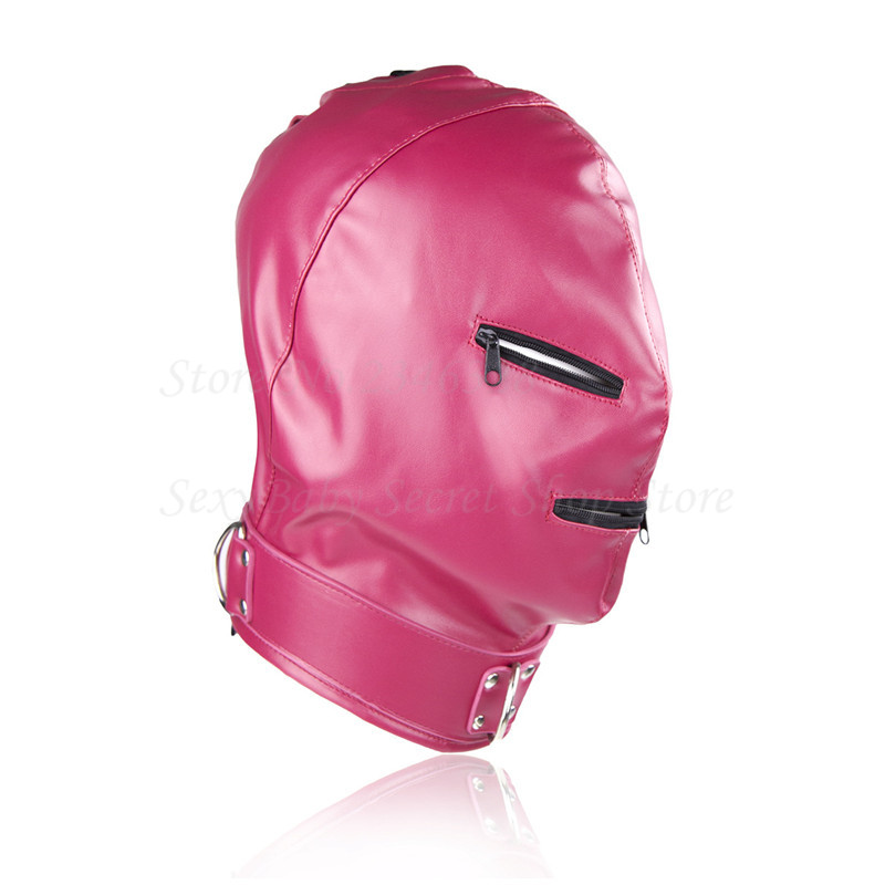PU Leather Mask Hood Bondage Head Restraint Sex Toys For Couples,Fantasy Sex Cosplay Slave Zipper Open Mouth Eye Adult Games