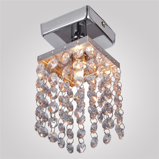 1 Light Mini Crystal Pendant Chandelier With Solid Fixture Chrome Finish Entry Bedroom Living