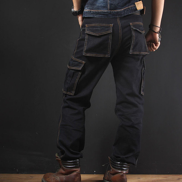KIMSERE Männer Casual Cargo Jeans Hosen Mit Multi Taschen Baggy Taktische Denim Hosen Lose Fit Plus Größe 30-40