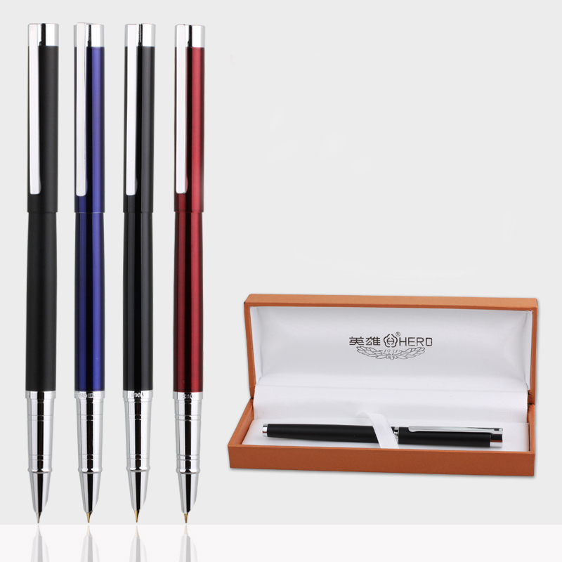 HERO 1063 Luxury Smooth Metal Fountain Pen Silver Clip 0.5mm Nib Writing Pens with Gift Box Free Shipping Office Supplies fountain pen m nib hero 1508 dragon clip signature pens the best gifts free shipping