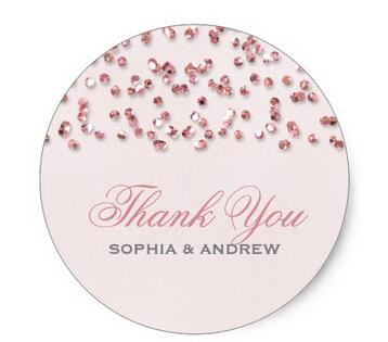 1 5inch pink glitter look confetti thank you sticker in stationery