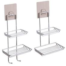 1pc Double Layer Bathroom Soap Dish Holder Rack Kitchen Bathroom Storage Basket Shelves Shower Tray With Suction Cup(China)