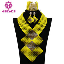 Luxury Yellow Dubai African Beads Jewelry Set Gold Nigerian Wedding Bridal Statement Necklace Set Party Free Shipping QW469