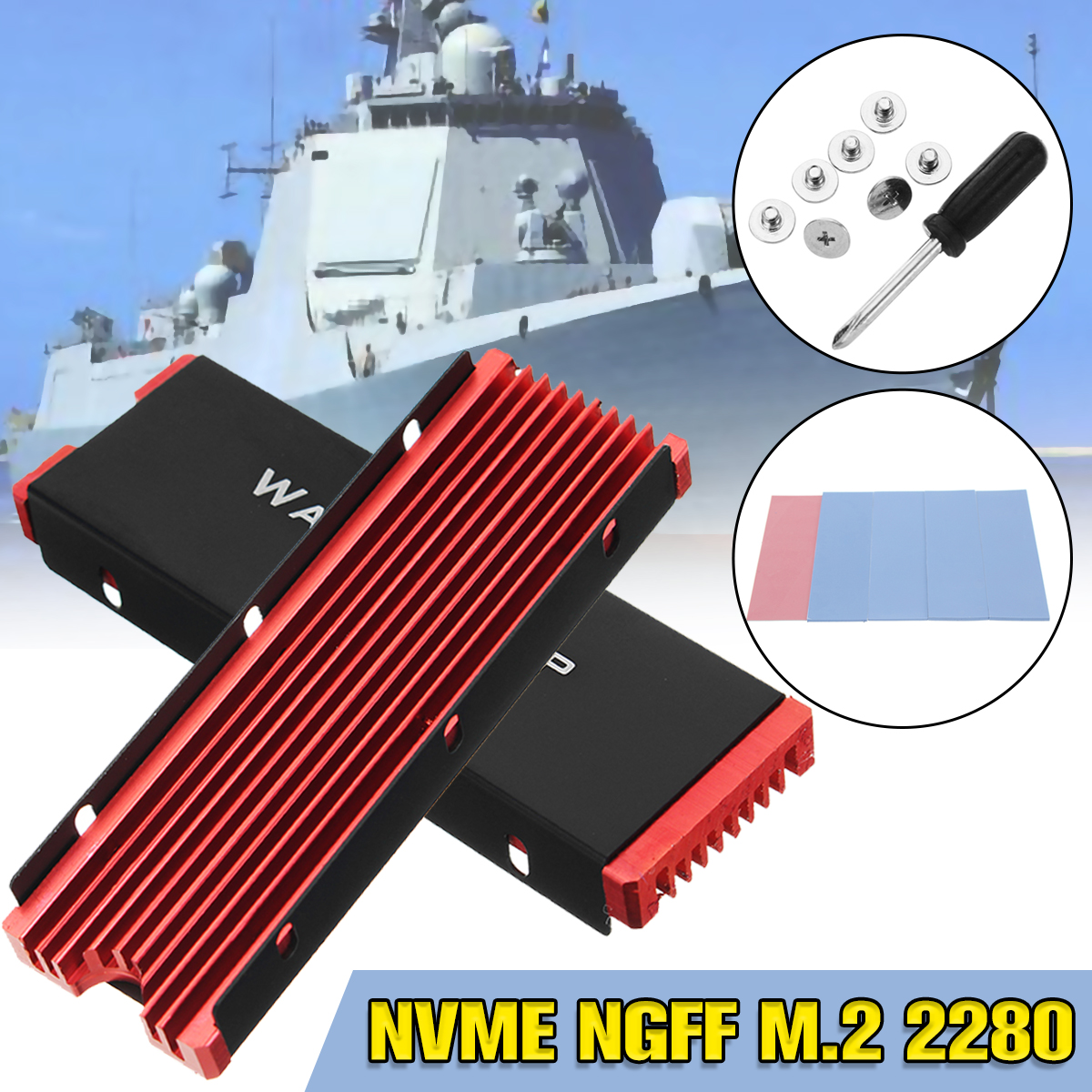 JEYI Cooling Warship Aluminum Sheet Gold Bar Dust-proof NVME NGFF M.2 2280 Thermal Conductivity Silicon Wafer CoolingJEYI Cooling Warship Aluminum Sheet Gold Bar Dust-proof NVME NGFF M.2 2280 Thermal Conductivity Silicon Wafer Cooling