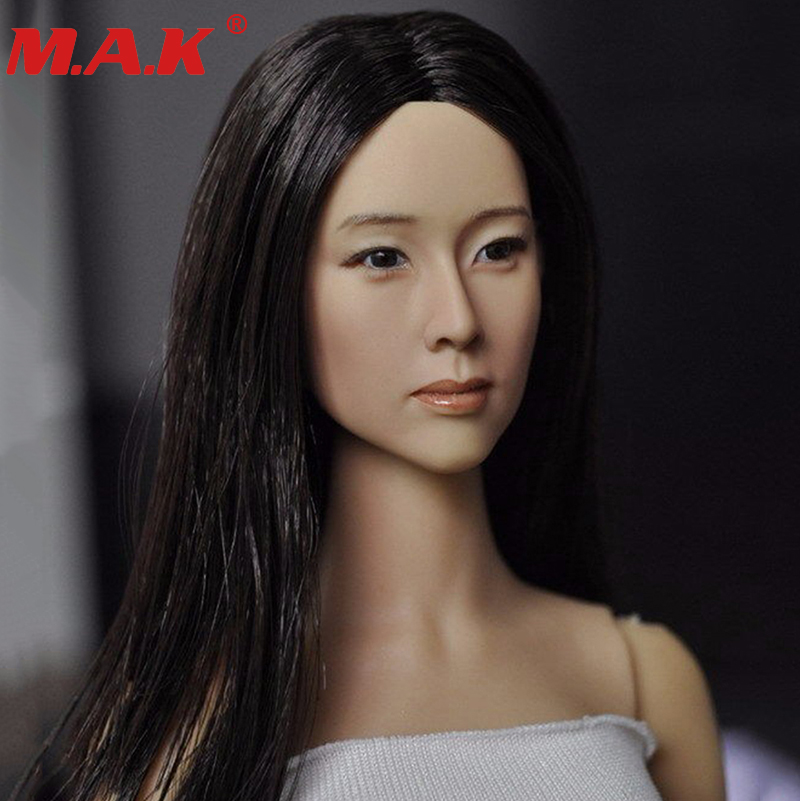 1/6 scale Asian women female girl young lady head sculpt with black long hair for 12action figures body model toys collections