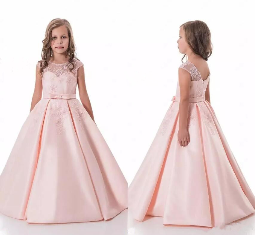 Pink Lace Long Flower Girl Dresses Tulle Puffy Ball Gowns Kids Pageant First Communion Gown For Girls 2018 Custom Made new white ivory flower girl dresses for wedding 3d flowers puffy tulle with big bow girls first communion gowns