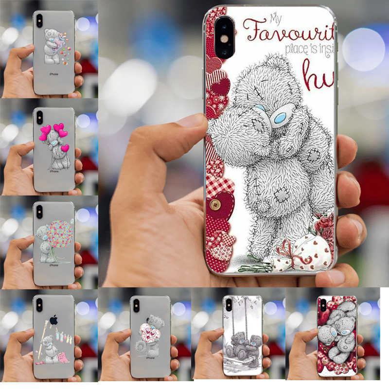 Siliconen telefoon case Voor iphone XS Max case Tatty Teddy Ik Je Beer Telefoon case Covers Voor iphone 4 5 s SE 6 s 7 8 plus XR case