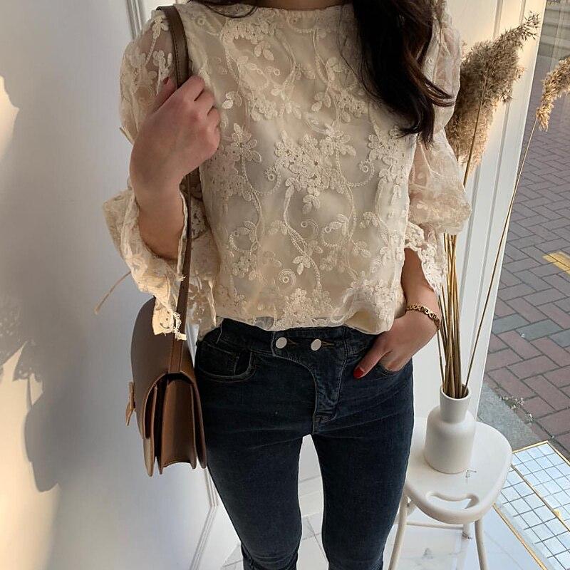 HTB1ztndbovrK1RjSszfq6xJNVXa0 - Spring / Summer O-Neck Long Sleeves Embroidery Floral Lace Blouse