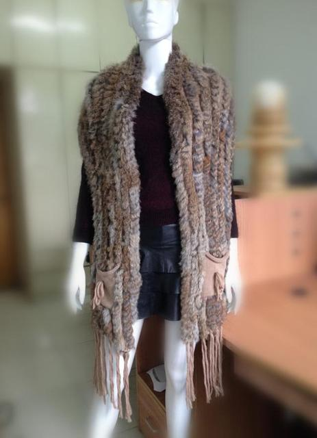 Hot Sale Natural Fur Waistcoat Handmade Knitted Rabbit Fur Vests For Women Fur Gilet Free Shipping YC190