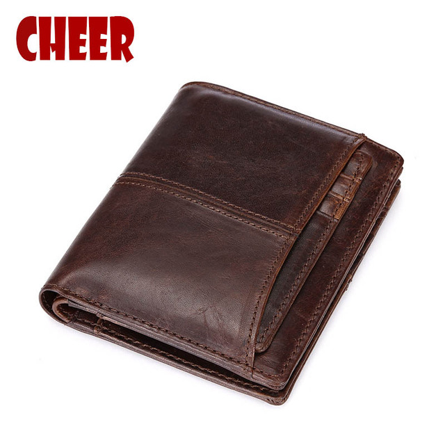 Genuine Leather men's wallets purse money clip dollar price Folding short section men wallet vertical section of oil bag