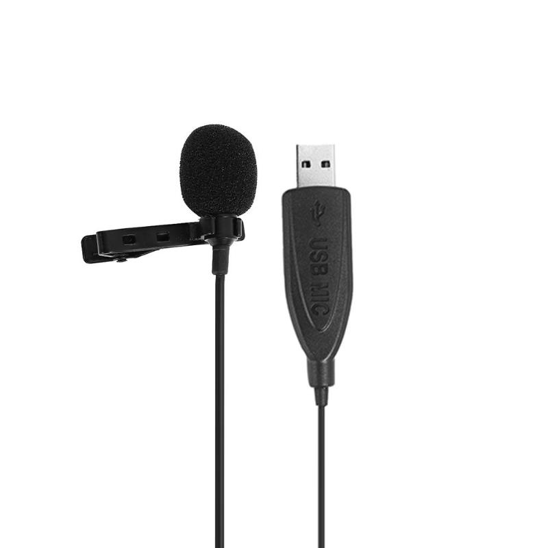 USB 2.0 Lavalier Microphone Clip On Collar Condenser Lapel Mini Mic For Meeting PC Conference