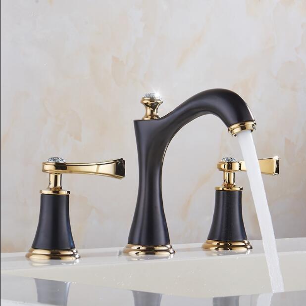 Fashion copper Faucet black and gold  bathroom basin faucet classic design widespread 8' three hole bathroom sink mixer copper bathroom shelf basket soap dish copper storage holder silver