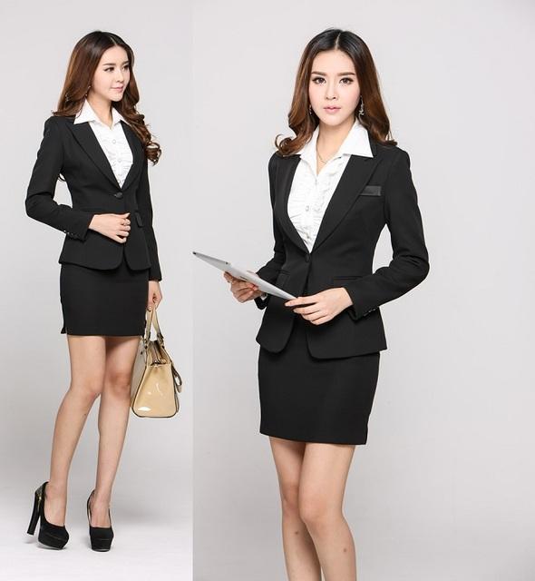 2015 New Arrival outono inverno Formal uniforme escritório projeto mulheres de negócios ternos de carreira com saia moda Blazers conjunto desgaste do trabalho