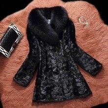 Fur Story 16156 Роскошный Полный Пелт настоящий норковый мех пальто толстовка женская натуральная норковая Меховая куртка с натуральным лисьим меховым воротником